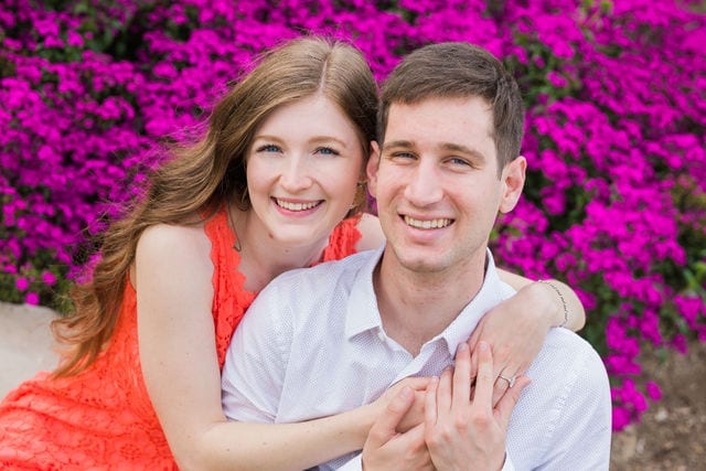Claire & Josh engagement session San Antonio Botanical Gardens in the flowers