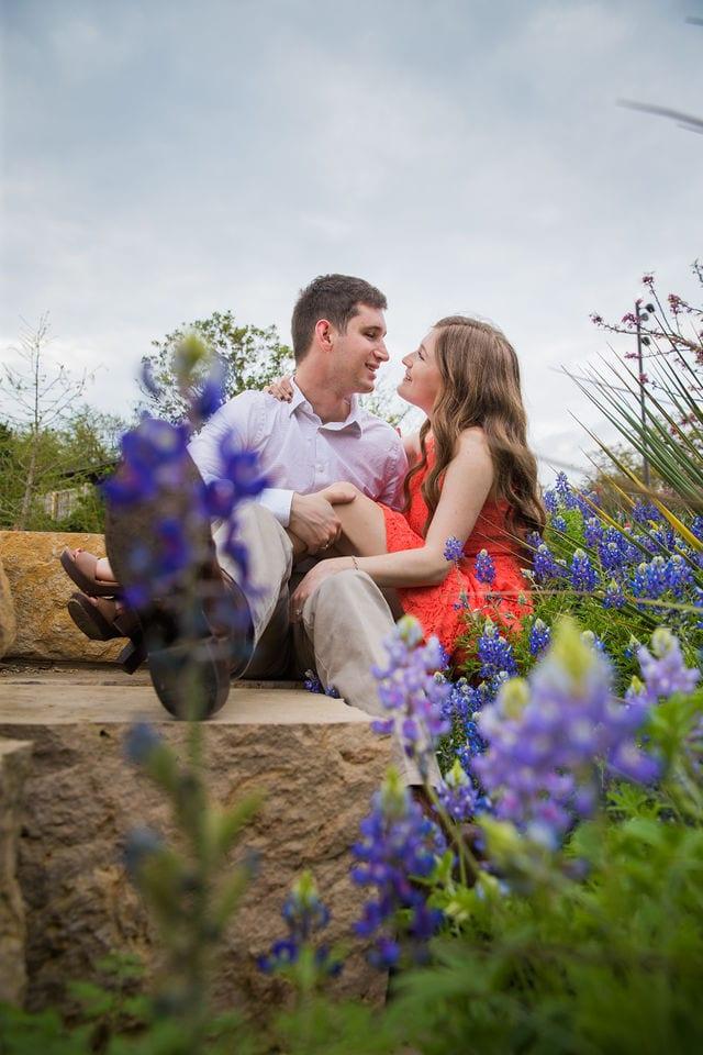 Claire & Josh engagement session San Antonio Botanical Gardens bluebonnets