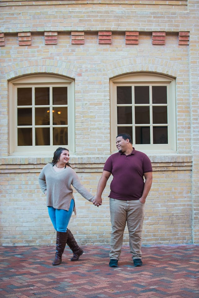 Dana and Andrews engagement session at the Pearl Stable doors