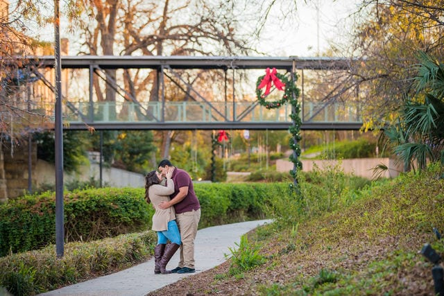 Dana and Andrews engagement session at the Pearl walkway