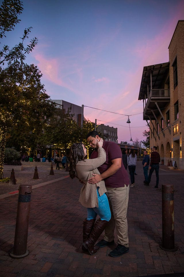 Dana and Andrews engagement session at the Pearl sunset street