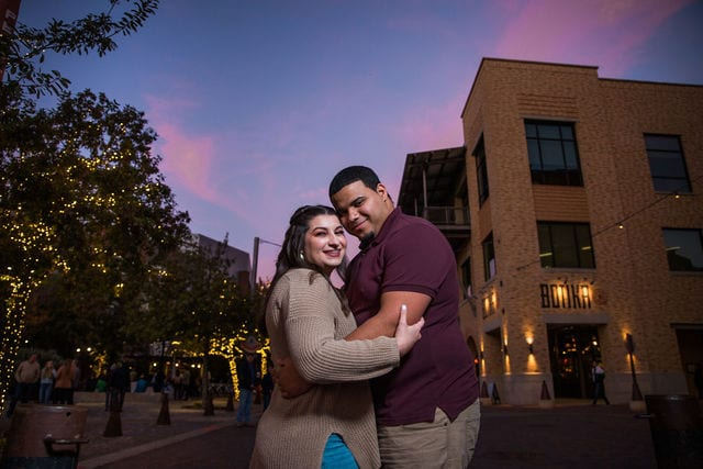 Dana and Andrews engagement session at the Pearl sunset street close up